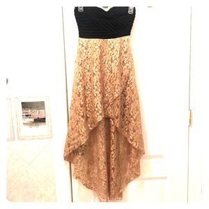 Strapless high low lace dress